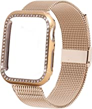 INTENY Compatible for Apple Watch Band 38MM 40MM 42MM 44MM with Bling Screen Protector, Women Stainless Steel Mesh Strap with Protective Crystal Diamond Case Compatible for iWatch Series 4/3/2/1