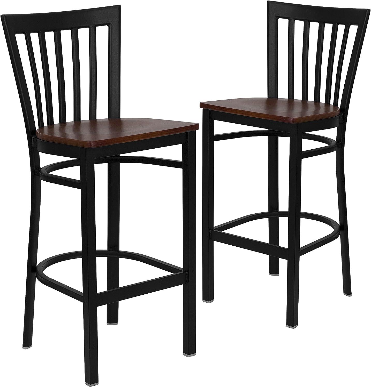 Flash Furniture 2 Pk. Hercules Series Black School House Back Metal Restaurant Barstool - Cherry Wood Seat