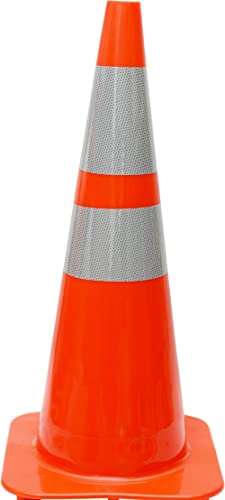 "(Set of 8) CJ Safety 28"" Orange PVC Traffic Safety Cones with 6"" & 4"" Reflective Collars (8 Cones)"