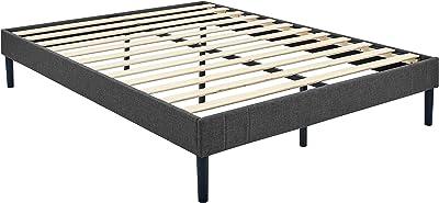 Amazon Basics Modern Faux-Linen Upholstered Bed Foundation - Dark Grey, Full