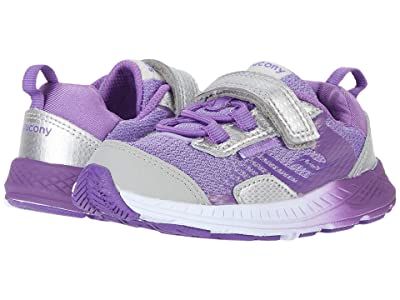 Saucony Kids S-Wind Shield A/C JR (Toddler/Little Kid) (Silver/Purple) Girls Shoes