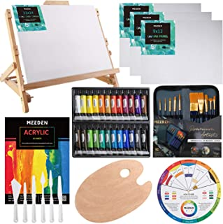 MEEDEN 48-Piece Acrylic Painting Set with Beech Wood Table Easel, 24×12ML Acrylic Paint Set and All The Additional Supplies, Perfect for Beginning Artists, Students and Kids