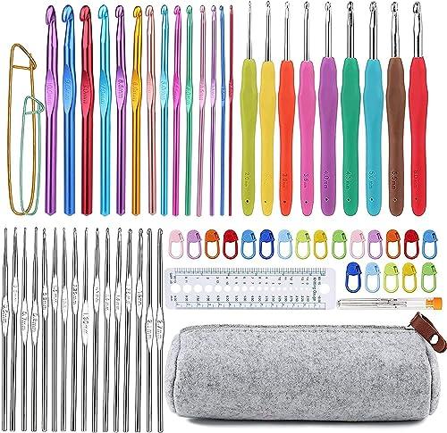 72 Pcs Crochet Hooks Set, Crochet Hooks Kit Plus Large Eye Blunt Needles Ergonomic Yarn Knitting Needles Marking Clip...