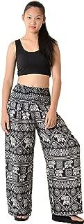 Orient Trail Women's Bohemian Elephant Design Yoga Wide Leg Harem Pants Small Elephant Black 2
