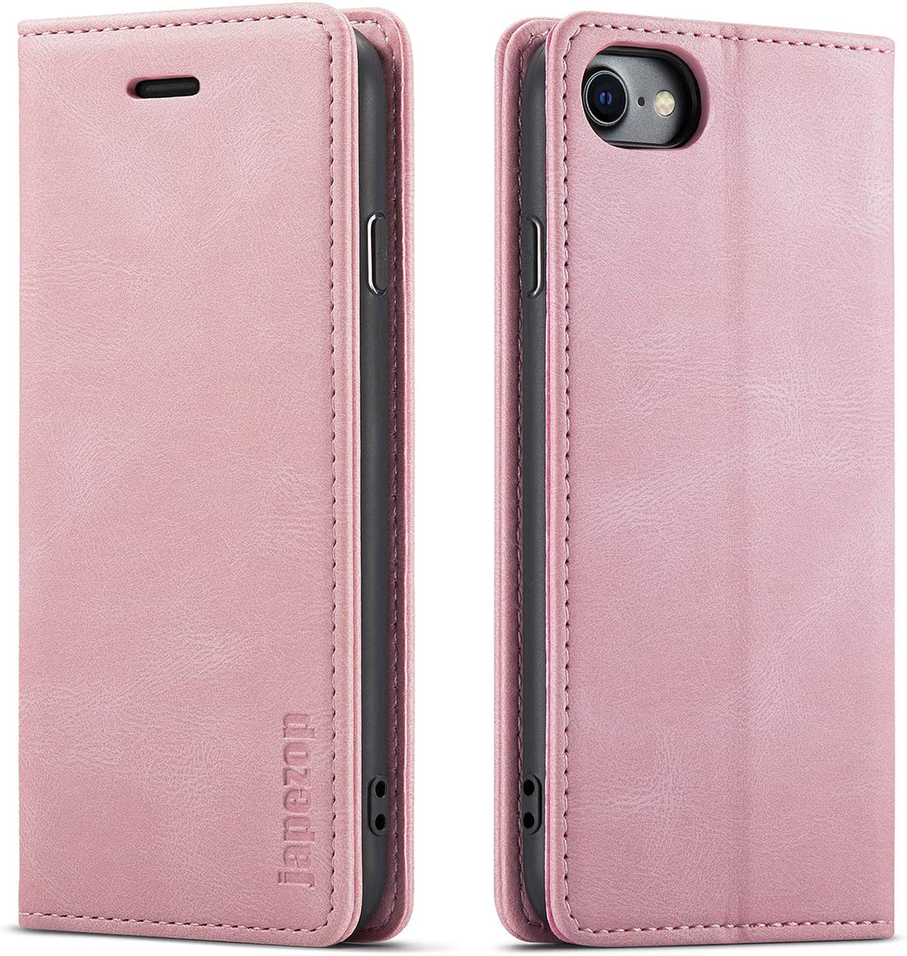 Case for iPhone 8/iPhone 7/iPhone SE2020,[Premium Leather] [Soft TPU] [RFID Blocking][Card Slots] [Magnetic Kickstand] Flip Wallet Case for iPhone 7/iPhone 8 / iPhone SE (2nd) 4.7 inch(Pink)