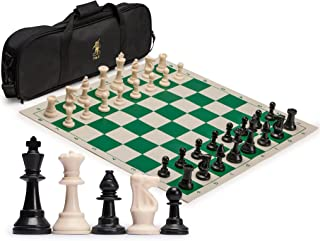 Yellow Mountain Imports Staunton Regulation Tournament Chess Set with 2 Extra Queens, Weighted Chessmen, Bag, and Roll-Up Vinyl Board with Green & Natural Squares