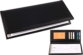 Business Size and Travelers Check Checkbook Cover PU Leather with Built in Storage Pockets for Side Tear Checks (Black)