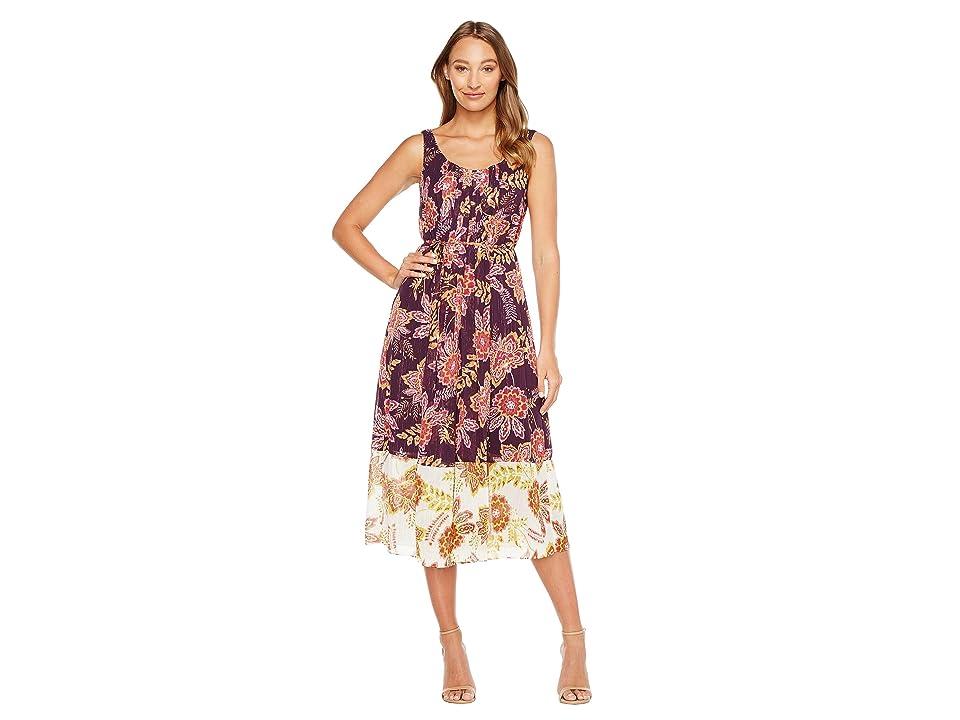 Donna Morgan Pleat Front Chiffon Maxi Dress (Opium Burgundy/Blush Pink) Women