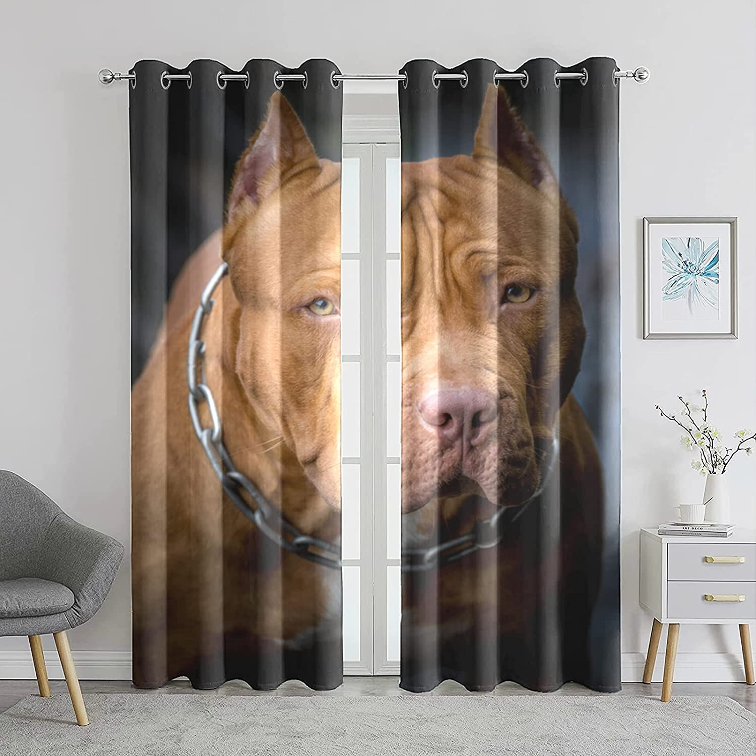 Living Room Curtains Recommendation 2 Panel Sets Blac 4 years warranty American Pit Terrier Bull