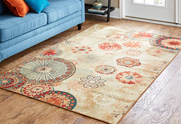 Mohawk Home Alexa 圆形图案室内室外印花面积地毯 5x8 多色