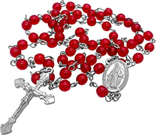 Nazareth Store Catholic Round Crystal Beads Rosary Necklace, Red Crystals Miraculous Centerpiece Medal & Silver Cross, Vel...