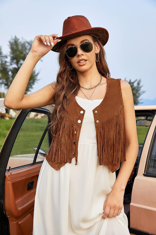 Hotouch Fringe Vest Women Faux Suede Open-Front Vintage Vest Sleeveless 70s Hippie Clothes Boho Western Jacket