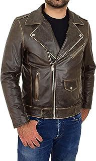 Mens Real Leather Biker Style Jacket Cross Zip Brando Design Neil Brown