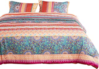 Wake In Cloud - Bohemian Duvet Cover Set, Orange Coral Boho Chic Mandala Printed Soft Microfiber Bedding, with Zipper Closure (3pcs, Queen Size)