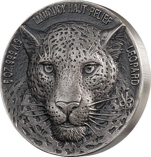 Leopard Big Five Mauquoy 5 Oz argent Coin 5000 Francs Ivory Coast 2018
