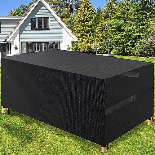 POOTACK Housse Salon De Jardin 3KG, Housse De Protection Table De Jardin Imperméable 600D Oxford Résistant, Extérieur...