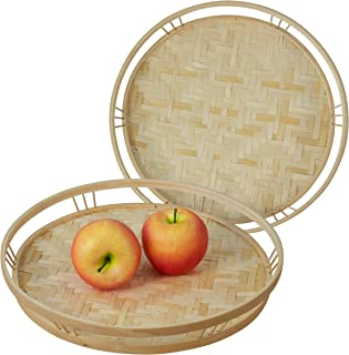 Made Terra Bamboo Wicker Round Serving Trays with Handles, Handwoven Serving Platter Trays for Coffee, Breakfast, Bread, F...