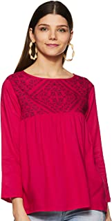 Styleville.in Women's Quarter sleeve rayon top with printed yoke