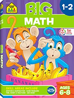 School Zone - Big Math Workbook - Ages 6 to 8, 1st Grade, 2nd Grade, Addition, Subtraction, Word Problems, Time, Money, Fr...