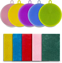 iTrunk Silicone Dishwashing Brush, 5 Piece Food-Grade Antibacterial Non Stick Dish Brush and 5 Piece Sponge Scouring Pads, Vegetable and Fruit Washer, Kitchen Wash for Pot Pan Dish Bowl