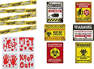 Zombie Party Decorations - Birthday or Halloween Zombie Party Decor - Posters, Caution Tape, Window Clings