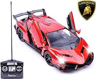 Haktoys Licensed Lamborghini Veneno Roadster Red Color 1:14 Scale Sports RC Car Realistic Car Sound & Detailed Design | Head/Rear Lights | Slide-Up/Scissor Doors | Battery Operated & Pre-Assembled