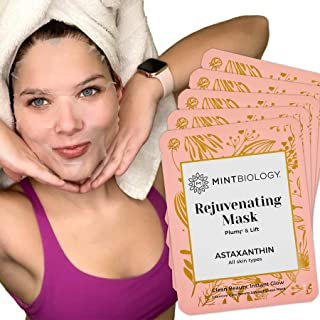 Best Luscious Korean Face Mask - K Beauty Collagen Facial Sheet Mask with Astaxanthin for Instant Luminous Brightening & Hydrating Skin Care Facemask - Get Your Radiant Silky Smooth Skin Now Review