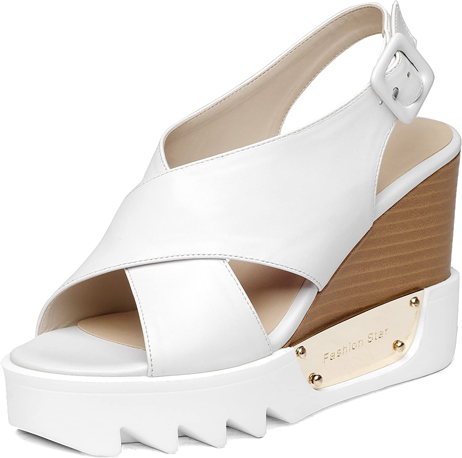 Nine Seven Genuine Leather Women's Peep Toe Mary Jane Wedge Sandal