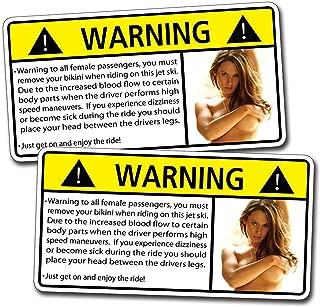 Funny Jet Ski 1/2 Naked Sexy Girl Warning Decal Sticker Joke