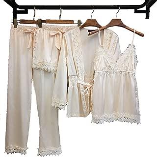 Sexy Pajamas for Women Silky Sets, Silk Satins Lace Sleepwear Black,Thin Strap Dress Robe Shorts & Pants Home Wear Clothes