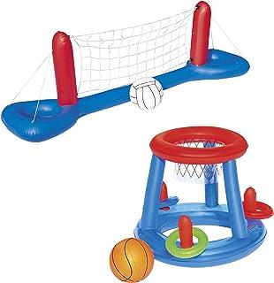 Juego de juguetes de piscina con red de voleibol y baloncesto, hinchable.