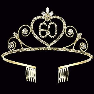Coucoland 60th Crystal Birthday Crown Tiara 60th Rhinestone Princess Birthday Crown Headband Gold 60th Happy Birthday Party Crown Tiara