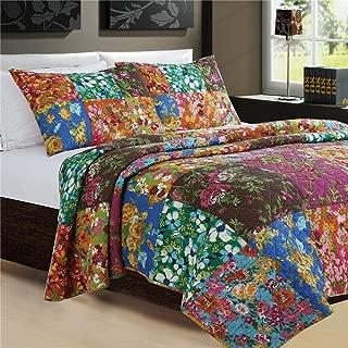 Abreeze Flowers Bedding Collection Bohemian Patchwork Cotton Colorful Floral Quilt Bedspread Set Chic Rose Quilts, 3-Pieces,Queen