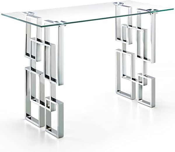 Meridian Furniture 231 S Alexis Collection Modern Contemporary Glass Top Console Table With Stainless Steel Base In Polished Chrome Finish 48 W X 14 D X 30 H Silver