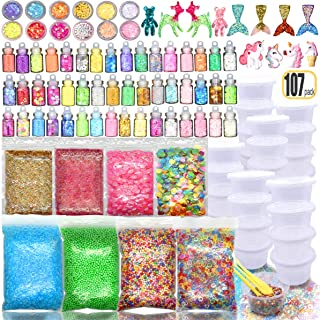 107PCS Slime kit Supplies Stuff Include Foam Beads Fishbowl Beads Glitter Jars Paper Sugar Accessories Slime Charms Shell Slime Containers with Lids