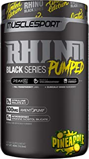 Rhino Black® Pumped, Stimulant Free, Pre Workout Powder, Nitric Oxide Booster, Pumps, Lean Muscle Mass, Nitrosigine, Citrulline, Focus (400 Grams, Pineapple)