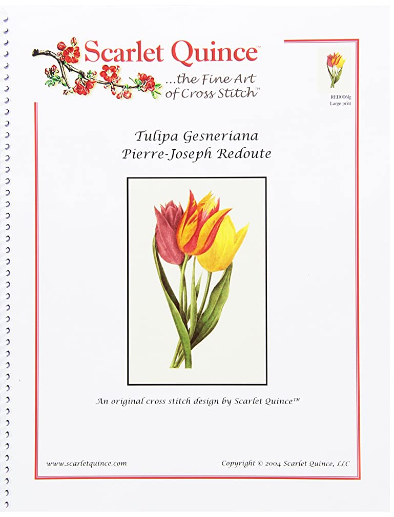 Scarlet Quince RED006lg Tulipa Gesneriana by Pierre-Joseph Redoute Counted Cross Stitch Chart, Large Size Symbols