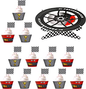 50PCS Racing Car Party Decorations for Hot Wheels Birthday Party,Boy Birthday Party Supplies,Race Car Birthday Cardboard Cake Stand Set with Cupcake Wrappers and Cupcake Toppers