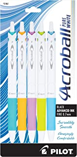 PILOT Acroball PureWhite Advanced Ink Refillable & Retractable Ball Point Pens with Turquoise/Orange/Purple/Lime/Blue Acce...