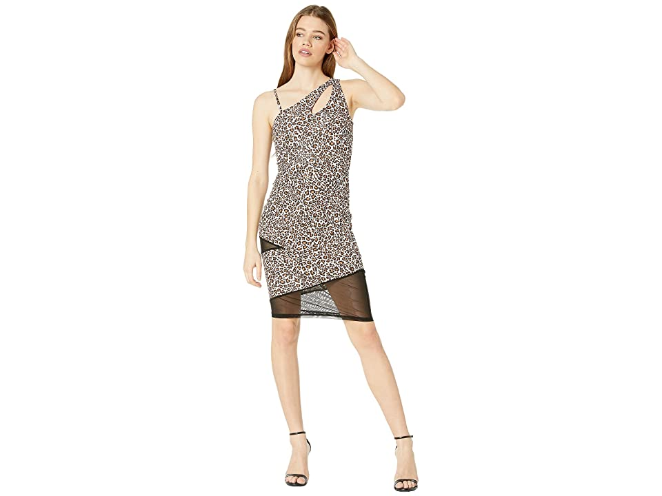 Bebe One Shoulder Keyhole Mesh Mixed Dress (Leopard) Women