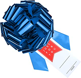 """CarBowz Big 16"""" Car Bow, Vinyl Sticker Gift Tag Included, Giant Pull Bow for Cars, Weather Resistant, Non-Scratch Suction Cup (Blue Bow with Red Just for You)"""