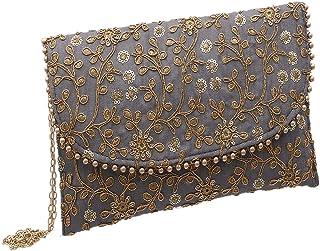 Kuber Industries Handcrafted Embroidered Clutch Bag Purse Handbag (Grey) - CTKTC034517