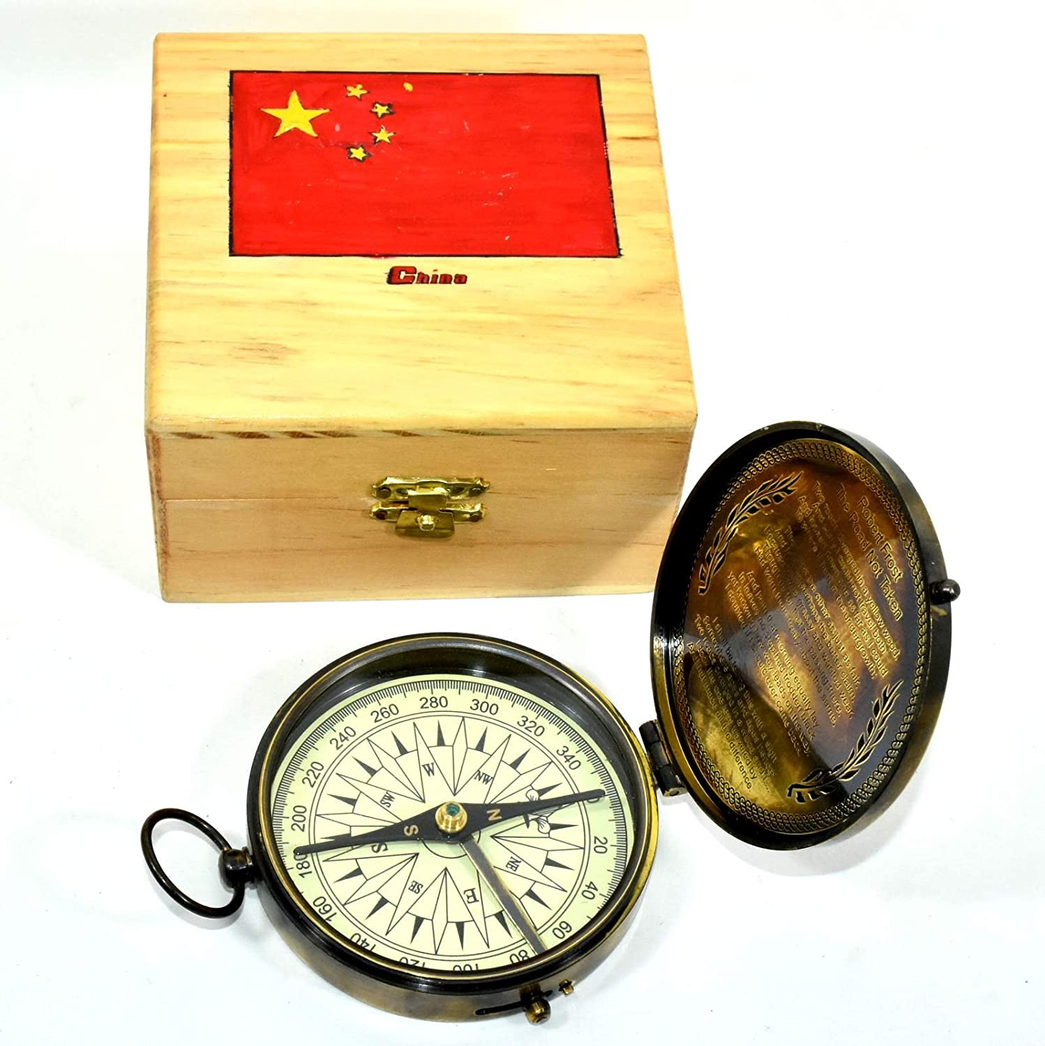 Eve.store HAG Nautical Compass Maritime Brass Flat Compass with Wooden Box Collectible Decor.XFGHFGF76