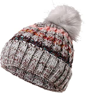 Ypser Women's Winter Slouchy Knitted Hat Cable Faux Fur Pom Beanie Hat