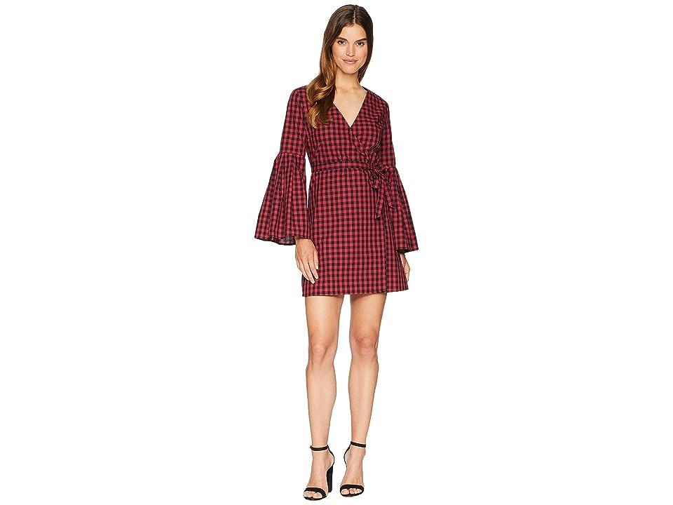 Jack by BB Dakota Alter Ego Gingham Bell Sleeve Wrap Dress (Ruby) Women