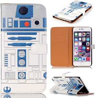 R2D2 Robot Pattern Slim Wallet Card Flip Stand PU Leather Pouch Case Cover For Apple iphone 6 Plus iphone 6S Plus - Cool as Great Gift