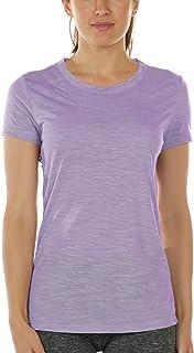 icyzone T-Shirt de Sport Femme Manches Courtes Exercice Yoga Décontracté Shirt