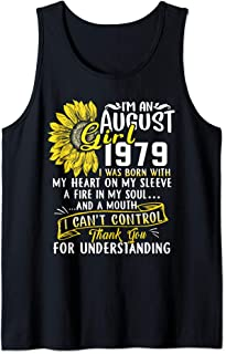 I'm An August Girl 1979 40th Birthday Sunflower Gift Tank Top