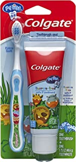 Colgate My First Baby and Toddler Toothbrush and Fluoride Free Toothpaste Set for Ages 0-2 Years