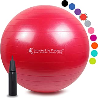 Exercise Ball for Yoga, Balance, Stability from SmarterLife - Fitness, Pilates, Birthing, Therapy, Office Ball Chair, Classroom Flexible Seating - Anti Burst, No Slip, Workout Guide